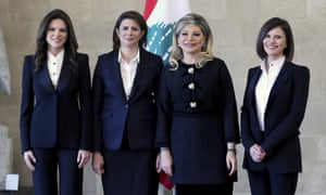 New ministers, left to right: Violette Safadi, Raya al-Hassan, May Chidiac, and Nada Boustani Khoury at the presidential palace in Baabda, east of Beirut