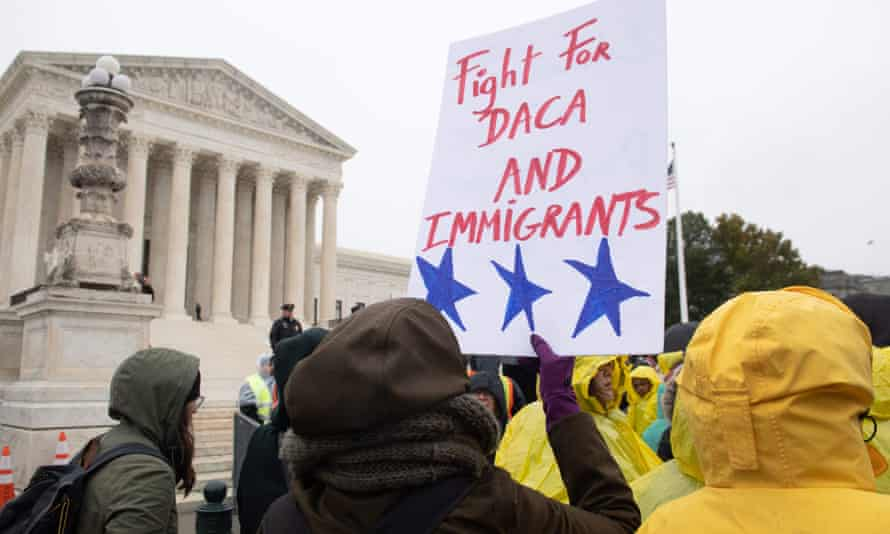 US-COURT-IMMIGRATION-DREAMERSImmigration rights activists hold a rally in front of the supreme court on 12 November 2019, as the court hears arguments about Daca.