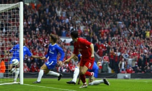 Liverpool's Luis García watches on as Chelsea's William Gallas tries to clear the ball during the Champions League semi-final second leg in 2005.