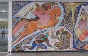 1965 Enlik-Kebek mosaic on the outside of the Hotel Almaty, Kazakhstan