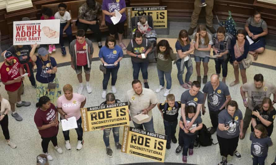 Anti-abortion demonstrators gather in the rotunda at the Texas state capitol in Austin in March before passage of a highly restrictive abortion law.