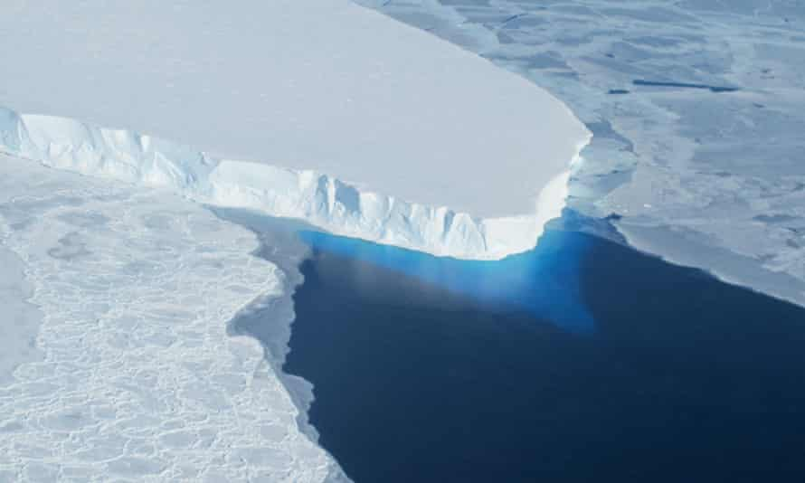 An undated photo courtesy of Nasa showing the Thwaites glacier in western Antarctica. This tipping point for Antarctica could be triggered by a global temperature rise of 3C above the preindustrial era.