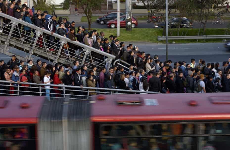 Bus passengers in Bogotá