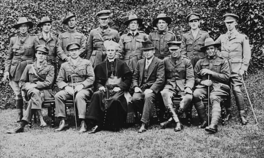 Catholic Archbishop of Melbourne, Daniel Mannix, and Victoria Cross winners in 1920. This scene is part of the restored film Ireland Will Be Free.