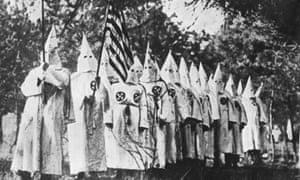 Members of the American white supremacist organisation, the Ku Klux Klan in the 1930s.