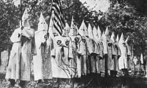 A 1930 photo of members of the Ku Klux Klan.