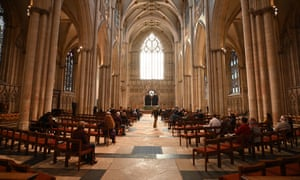 Worshippers preparing for a socially distanced service at York Minster.