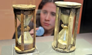A pair of sand timers, made from glass, wood and twine, that will be part of the exhibition.
