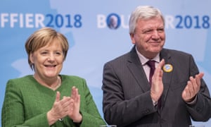 Merkel with local CDU leader Volker Bouffier at an election rally last week.