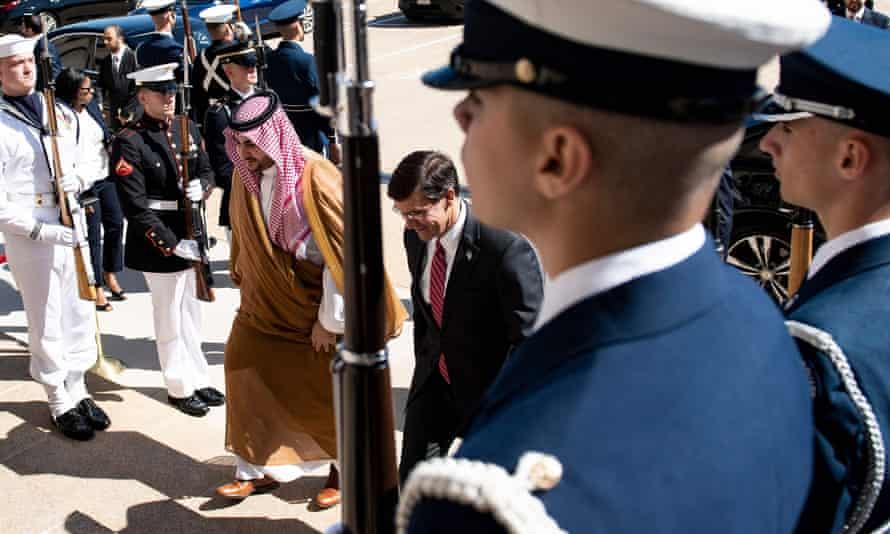 Saudi Arabia's vice minister of defense, Prince Khalid bin Salman, and US defense secretary, Mark Esper, walk to a meeting at the Pentagon in Washington, on 29 August.