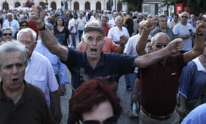 Pensioners chant slogans during an anti-austerity protest  in Athens