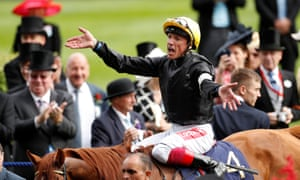 Frankie Dettori jubilant on Stradivarius after the Gold Cup.
