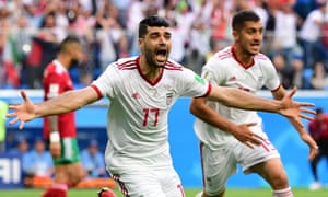 Iran's Mehdi Taremi reacts after Morocco scored a late own goal.
