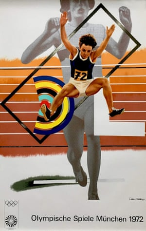 Munich Olympics promotional art poster by British pop artist Peter Phillips, 1972. Available fromTravel on Paper)