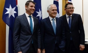 NSW Premier Mike Baird (left), Prime Minister Malcolm Turnbull (centre) and Victorian Premier Daniel Andrews