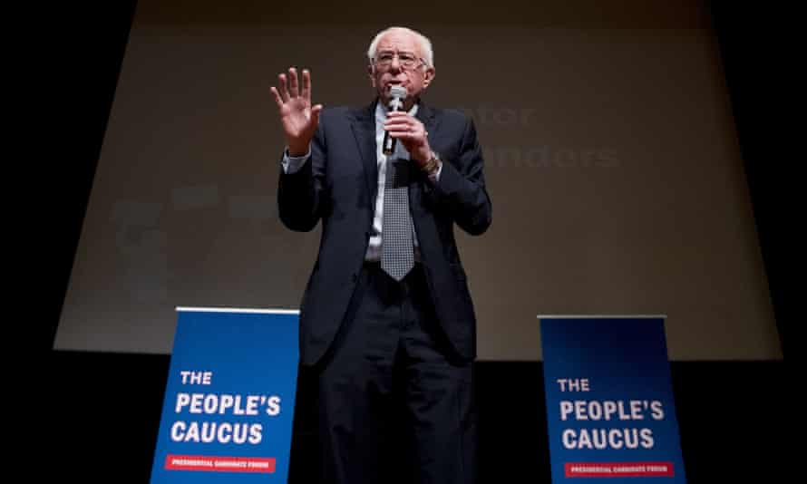 Democratic presidential candidate Senator Bernie Sanders speaks at 'The People's Caucus: Vote Truth to Power' in Davenport, Iowa, on Sunday.