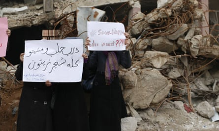 Syrian women protest about the seige in Aleppo