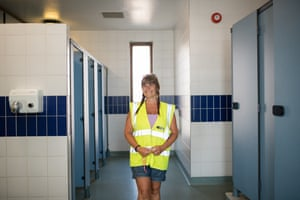 'I don't know what they've been doing in the disabled toilet' ... Dawn, who cleans the harbour's showers and toilets