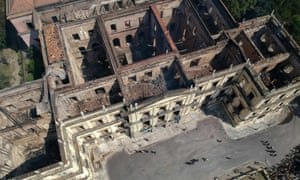 The shell of Rio de Janeiro's National Museum after a fire ripped through the building destroying about 20m items, including an irreplaceable collection of indigenous artefacts and research.