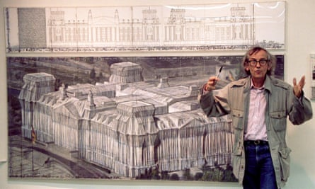 'There were spies everywhere' … Christo with a drawing of Wrapped Reichstag.