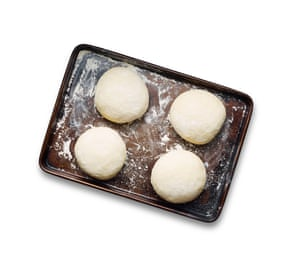 Form into four equal balls, leave to prove for two hours, while you prep your toppings, then flatten into thin discs