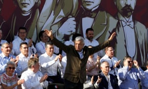 Mexico's President Andres Manuel Lopez Obrador leads a rally in Tijuana on Sunday.