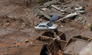 Debris is pictured in Bento Rodigues district, which was covered with mud after a dam owned by Vale SA and BHP Billiton Ltd burst, in Mariana, Brazil.