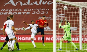 Álvaro Morata scores Spain's first goal goal against Germany.