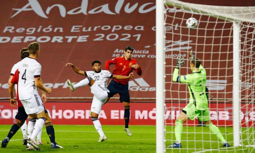 Álvaro Morata scores Spain's first goal goal against Germany.