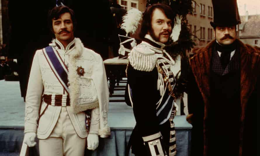 Malcolm McDowell (centre) plays Flashman in Royal Flash, a film based on George MadDonald Fraser's second Flashman novel, 1975.
