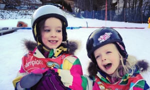 Heading for a fall: Kate Carter's children at the ski school
