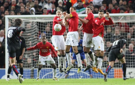 Juninho takes a free-kick against Manchester United in the Champions League in March 2008.