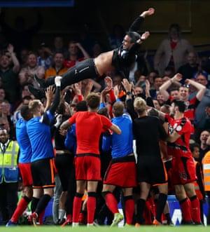 Huddersfield Town celebrate.