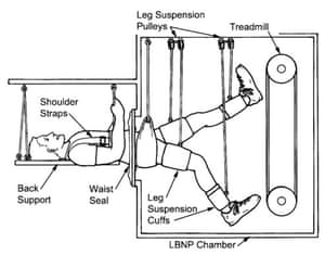 """The lower body negative pressure (LBNP) device, described by orthopaedic surgeon Alan Hargens as """"an early form of artificial gravity""""."""