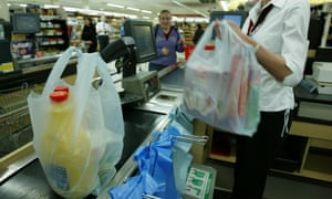 Generic Coles Myer supermarket with plastic bags