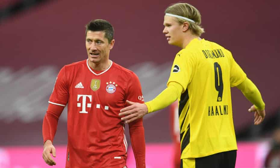 Bayern Munich's Robert Lewandowski and Borussia Dortmund forward Erling Haaland during Saturday's Klassiker.