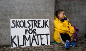 Thunberg on her strike last August.