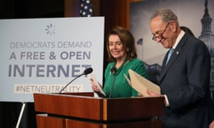 House minority leader Nancy Pelosi, pictured with her Senate counterpart Chuck Schumer, said the FCC repeal was a 'brazen giveaway at the expense of American families and citizens'.
