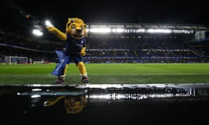 Chelsea's mascot puts on a brave face as the club's transfer ban is announced.