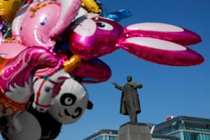 A monument to Lenin forms the backdrop to City Day celebrations in Yekaterinburg