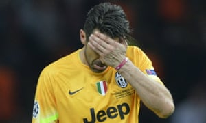 Juventus' goalkeeper and captain Gianluigi Buffon reacts at the end of last season's Champions League final, a 3-1 defeat to Barcelona.