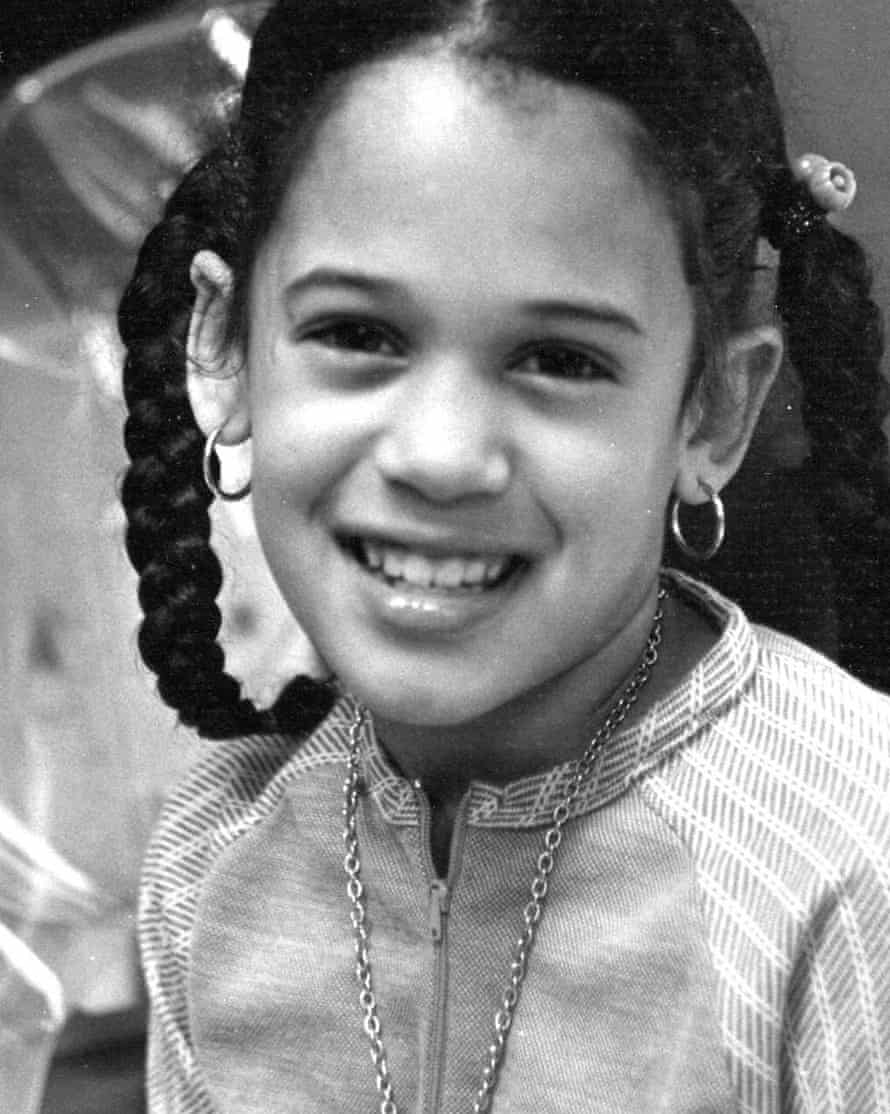 This undated photo provided by the Kamala Harris campaign in April 2019 shows her as a child at her mother's lab in Berkeley, CA.
