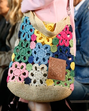 A crochet crossbody bag at the Loewe show
