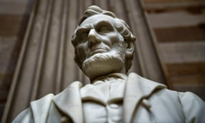 A statue of Abraham Lincoln stands in the Rotunda of the US Capitol, in Washington.