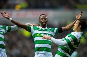 Celtic's Moussa Dembélé celebrates his equaliser.