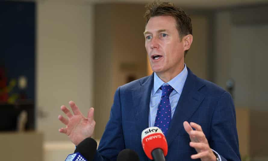 Industrial relations minister Christian Porter speaks to the media following a roundtable with union and employer representatives to discuss the coronavirus