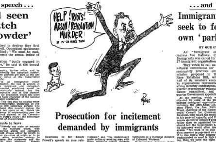 Guardian cartoonist, Papas' take on Enoch Powell, 22 April 1968.