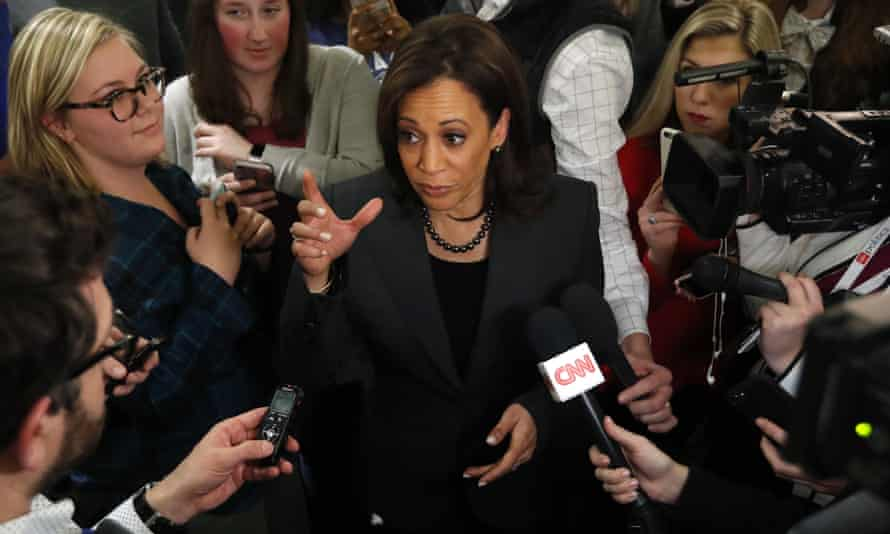 Kamala Harris speaks to reporters in Des Moines, Iowa on 28 January.