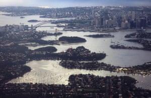 Sydney Harbour Bridge and the central business district.