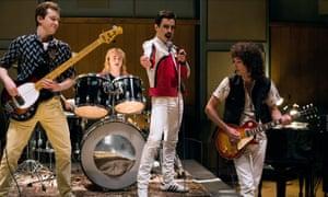 Ben Hardy, Joseph Mazzello, Rami Malek and Gwilym Lee in Bohemian Rhapsody.